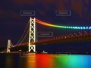 明石海峡大橋のライトアップの写真・画像素材[4785783]