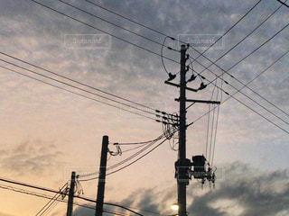 電信柱と夕空の写真・画像素材[1388892]
