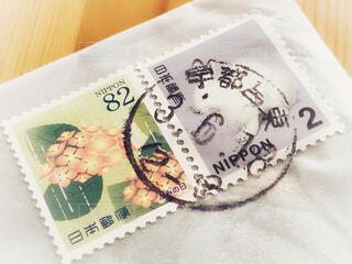消印のついた切手 紫陽花 うさぎの写真・画像素材[4618491]