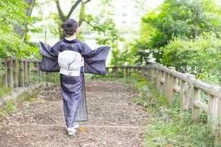 公園を散歩すり着物姿の女性の写真・画像素材[887021]