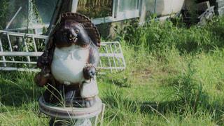 草の中に座ってるオブジェの写真・画像素材[775089]