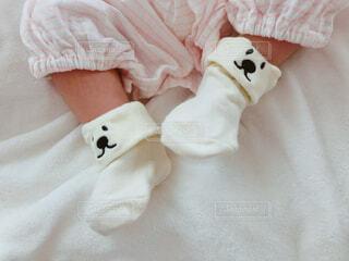 くまの靴下を履いた赤ちゃんの足の写真・画像素材[3702151]