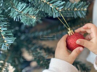 クリスマスツリーの飾りつけをする子どもの写真・画像素材[3949725]