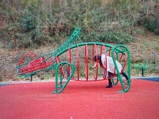 恐竜の遊具で遊ぶ女性の写真・画像素材[3984160]