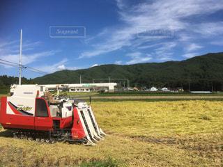 フィールドに座っている赤いトラックの写真・画像素材[755894]