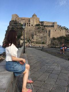 アラゴネーぜ城と私。の写真・画像素材[780136]