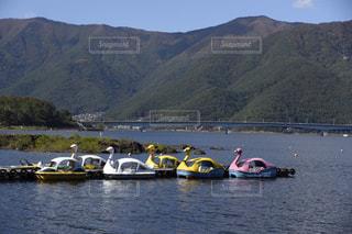 河口湖とスワンボートの写真・画像素材[1591909]
