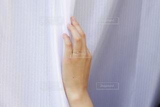 カーテンの前に立っている人の写真・画像素材[1246085]