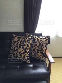 黒革のソファの写真・画像素材[1681549]