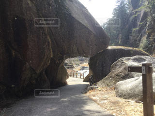 近くに大きな岩のアップの写真・画像素材[1083142]