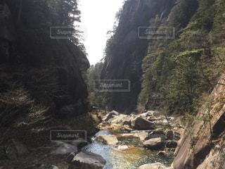 山の中腹に木と岩の多い川の写真・画像素材[1083144]