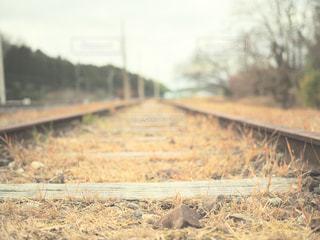 下り列車を走行する列車を追跡フィールドの近くの写真・画像素材[947479]