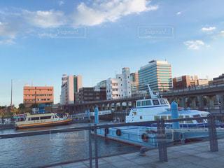 バック グラウンドで市と水の体の上の橋の写真・画像素材[710731]