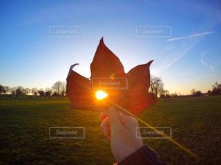 夕日の前に立っている間凧を持っている人 - No.720858