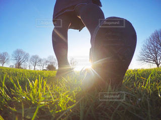 草の中に立っている人の写真・画像素材[722884]