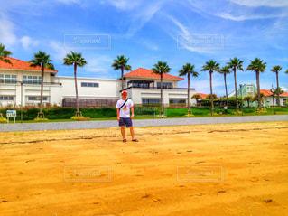 浜辺でフリスビーを再生する人々 のグループの写真・画像素材[710827]
