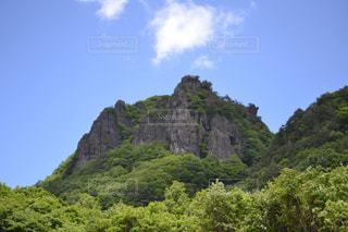 近くに緑豊かな緑の丘陵のアップの写真・画像素材[713047]