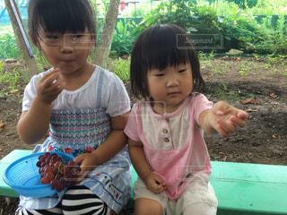 公園で座っている女の子の写真・画像素材[713549]