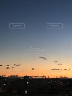 夕暮れ時の都市上空を飛行する鳥の群れ - No.878294