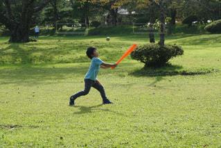 公園でフリスビーを投げる少年の写真・画像素材[787261]