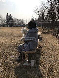 草の中に座っているの写真・画像素材[1821527]