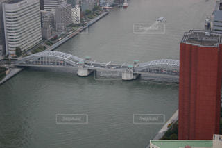 隅田川と勝鬨橋を上からの写真・画像素材[754835]