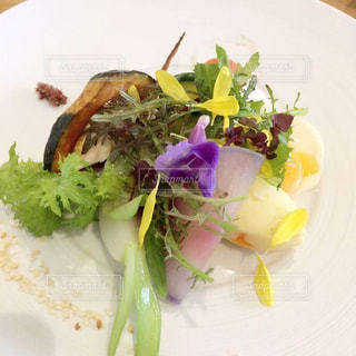 肉と野菜をトッピング白プレート - No.726574
