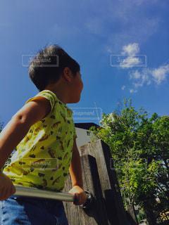 空を見上げる男の子の写真・画像素材[750370]
