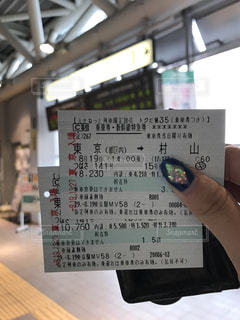新幹線のチケットを手で持っている写真の写真・画像素材[726648]