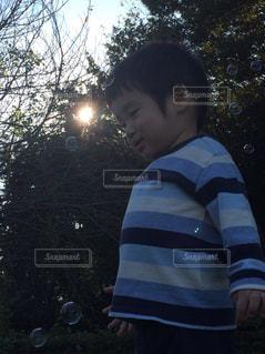 夕焼けシャボン玉の写真・画像素材[728222]