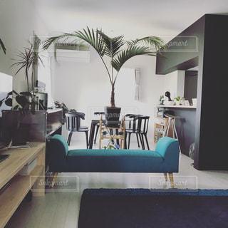 リビング ルームの家具とウィンドウでいっぱいの写真・画像素材[740966]
