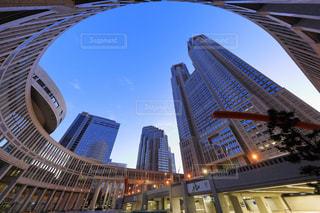 東京都庁都民広場から庁舎を見上げての写真・画像素材[938736]