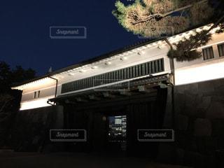 ライトアップされた桜田門と松の木の写真・画像素材[943644]