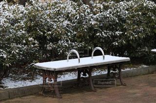 雪積もる公園のベンチの写真・画像素材[1784170]