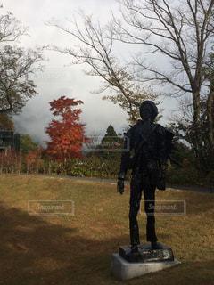 木の隣に立っている男の写真・画像素材[886016]