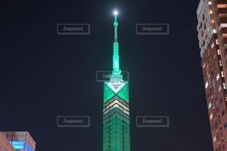 福岡タワー夜景【グリーン版】の写真・画像素材[1136111]
