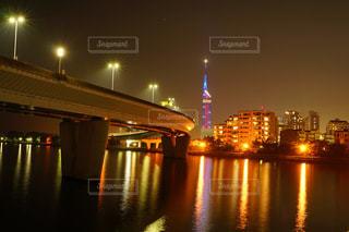 愛宕浜から見たシーサイドももち夜景の写真・画像素材[2823177]