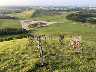 芝生のフィールドで、自転車の写真・画像素材[739257]