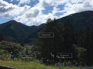 背景の山と木の写真・画像素材[744644]