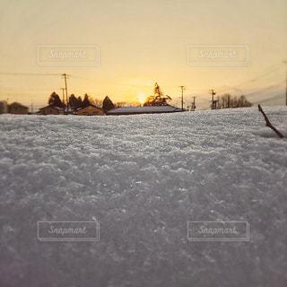 雪と夕日の写真・画像素材[979536]