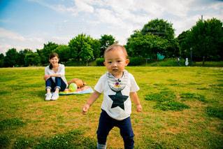 草の中に立っている小さな男の子の写真・画像素材[807913]