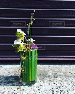 緑の植物の前にあるベンチに座って花の花瓶の写真・画像素材[758646]