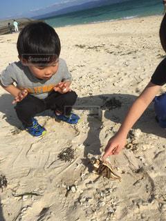 砂浜の上に座っている若い男の子 - No.811485