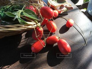 籠と赤い烏瓜の実の写真・画像素材[784100]