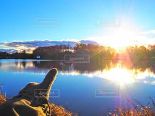 湖に沈む夕陽 - No.793518