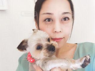 犬を抱く女性の写真・画像素材[1215809]