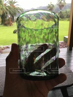 緑の庭とグラスの写真・画像素材[788155]