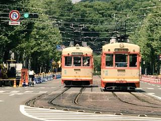 伊予鉄道の路面電車の写真・画像素材[794685]
