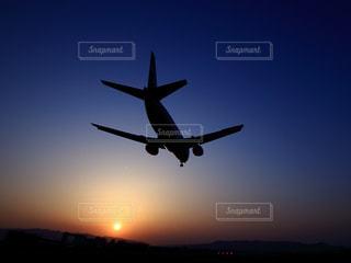 夕暮れの着陸機の写真・画像素材[795661]