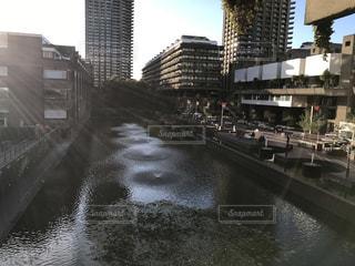 雨の中都市と水の間の橋の写真・画像素材[795876]